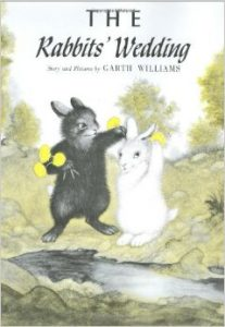 """The jacket cover of Garth Williams' """"The Rabbits' Wedding."""""""