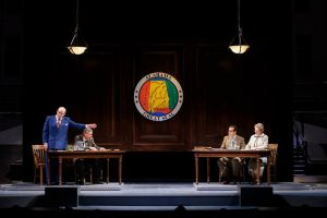 """William Parry, Stephen D'Ambrose, Seth Andrew Bridges and Greta Lambert in """"Alabama Story"""" at Pioneer Theatre Company. (Photo by Alex Weisman)"""
