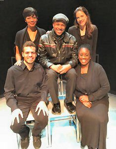L-R (back): Latoya Rhodes and Elizabeth Summerhays; L-R (front) William Cooper Howell and Dee-Dee Darby-Duffin. Center: Carleton Bluford.