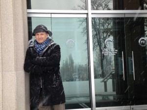"""Kenneth Jones on the steps of Pioneer Theatre during the 2104 Christmas Day snowstorm in Salt Lake City. (The day off from rehearsals for """"Alabama Story."""")"""