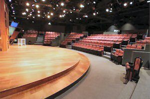 The Human Race Theatre Company's modified thrust stage at The Loft Theatre in Dayton, OH.