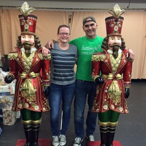 """Production stage manager Mary Costello and cast member Howard Kaye flanked by yule friends in the rehearsal room for """"It Happened One Christmas."""""""