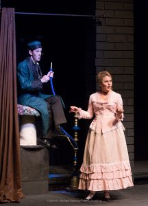 Nick Ley as the Caterpillar with Jenny Case. (Photo by H Michael Roberts)