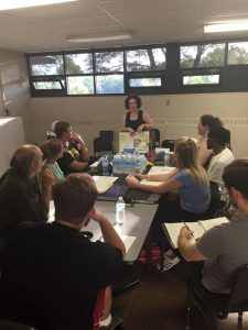"""Director Jamie Warrow and The Theatre Company cast of """"Alabama Story"""" on the first day of rehearsal in Detroit."""
