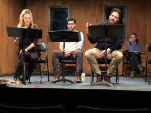 """Marin Ireland, Babak Tafti, Zachary Quinto, Madeleine Rogers read """"Three Rules for the Dragon"""" in a Colt Coeur-Rattlestick Playwrights Theater exploration of the play."""